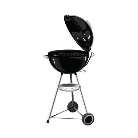 Realistic vector black Barbecue grill