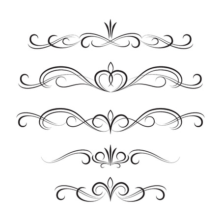scroll shape: The set of black decorative curly elements and ornaments.