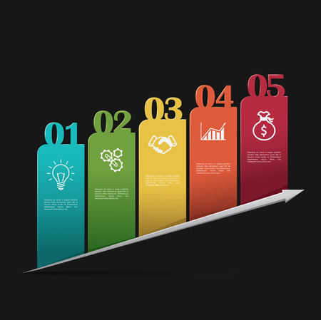Modern colorful business infographics template on a dark background 向量圖像