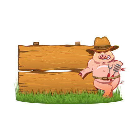 Barbeque grill - Smiling hog in cowboy hat, with a skimmer and spoon, near the wooden sign Vector