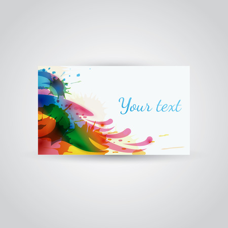 Colorful watercolor woman in hat - banner or business card template 向量圖像