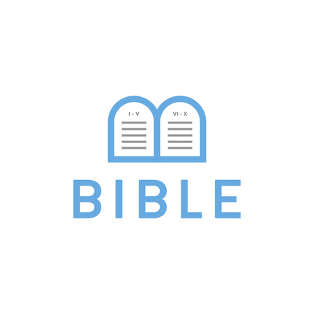 Logo Bible letter B tablets with the commandments 向量圖像