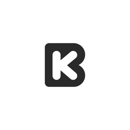 Monogram logo made from black letters B and K 向量圖像