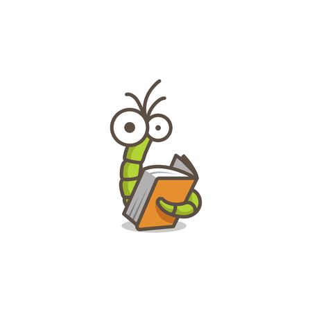 Funny green worm reading an orange book