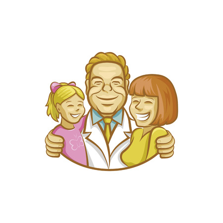 Happy doctor hugging mother and girl