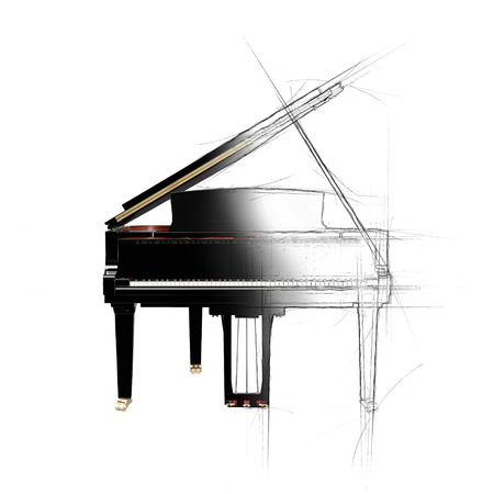 Half photo and half pencil drawing of grand piano