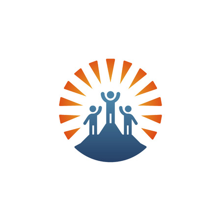 Logo Leader standing on the top of the mountain Illustration