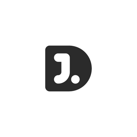 Simple monogram logo made from black letters D and J