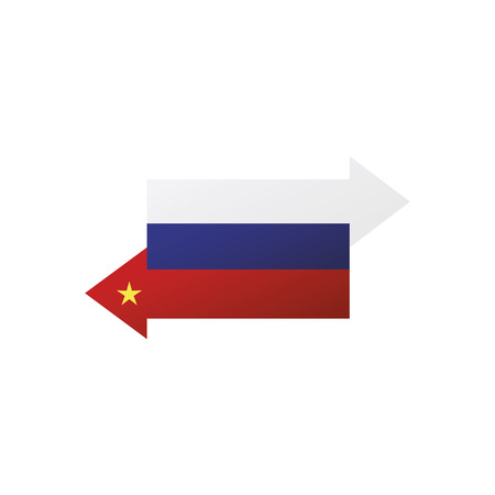 China Russia interaction, exchange and delivery Vector illustration.