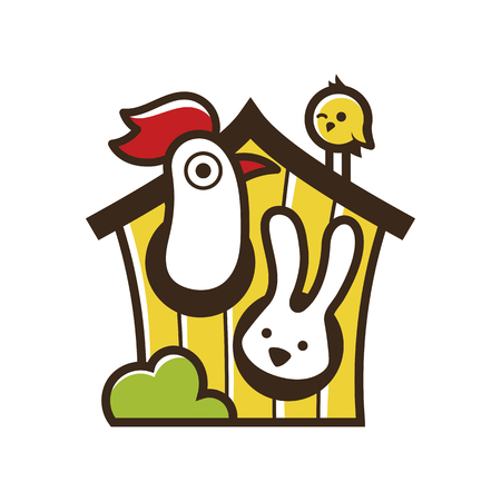 Cute funny farm animals isolated on white background Vector illustration. 向量圖像