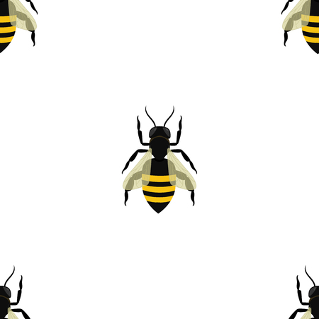 Seamless pattern with bees in chess sequence on white background