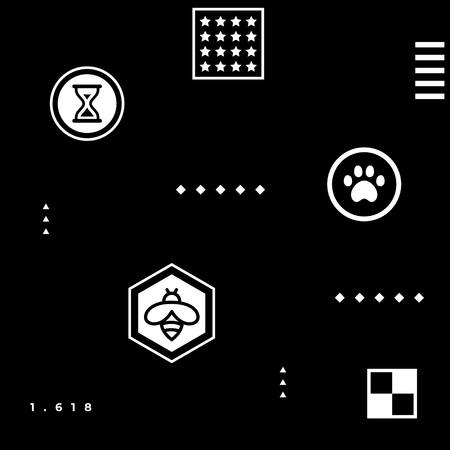 White abstract geometric hipster pattern with simple shapes - paw, bee, stars, squares, 1,618 golden ratio, checkerboard, hourglass on black background Illustration