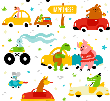Cute funny animals llama, crocodile, bookworm, rabbit, mouse, turtle and pig driving colorful cars to the happiness on white background