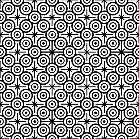 Seamless pattern with black and white circles and eight pointed stars