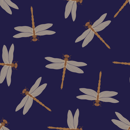 Seamless pattern Beige dragonflies on a dark blue background