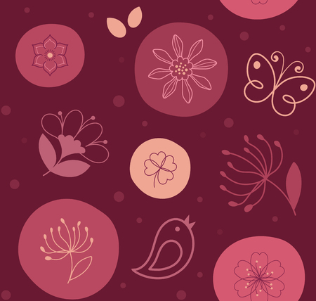 Seamless pattern cute flower, bird and butterfly on circles in red palette