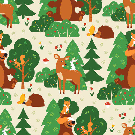 Seamless pattern with cute wild animals in green forest. Fox, squirrel, bear, hare, deer, hedgehog butterfly