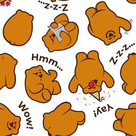 Seamless pattern with cute funny characters - reading, thinking, celebrating, sleeping and saying Hello brown bears in different poses on white background.