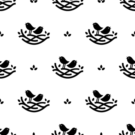 Seamless pattern with black singing birds in nest in minimalistic style on white background 向量圖像