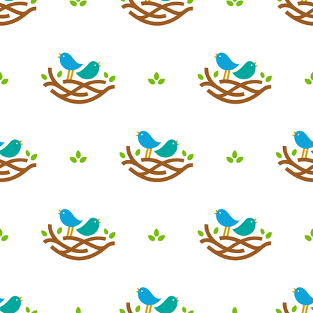 Seamless pattern with colorful singing birds in nest in minimalistic style on white background