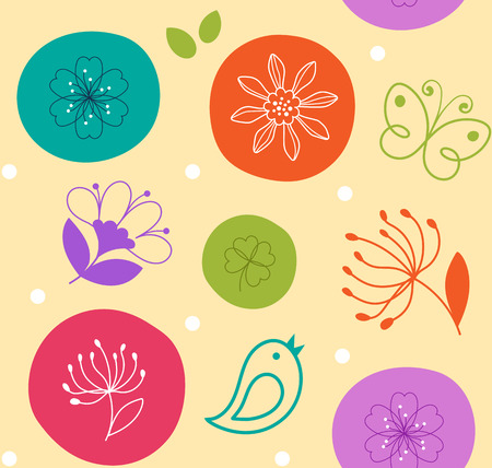 Colorful seamless pattern cute flower, bird and butterfly on circles