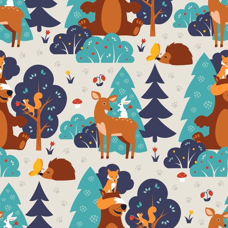 Seamless pattern with cute wild animals in blue forest. Fox, squirrel, bear, hare, deer, hedgehog, butterfly.