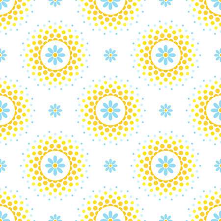 Seamless pattern with blue flowers and orange and yellow halftone circle frame on white background 免版税图像 - 104236574