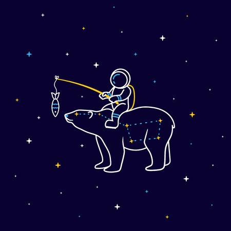 Funny cartoon astronaut sits on the constellation of a Great Bear in space with stars around Illustration