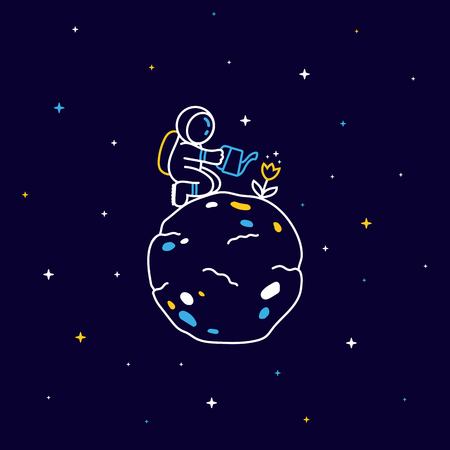 Funny astronaut sitting on planet and watering a flower with stars around 向量圖像