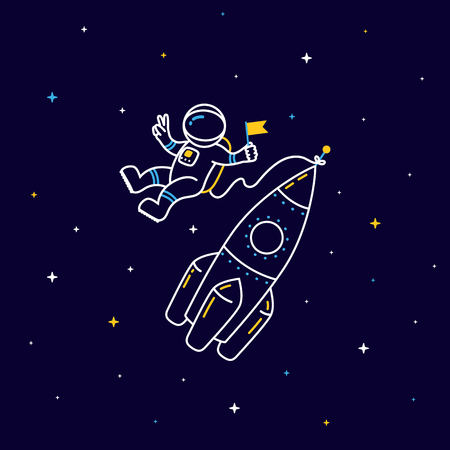 Funny flying astronaut in space with rocket and stars around in linear style