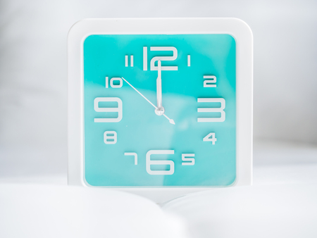 Set of time. 12 O'Clock, Square turquoise clock.