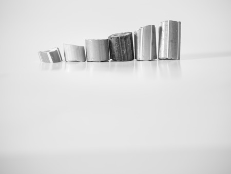 Black and white tone. Growth graph using hard candy bar 