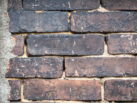 Abstract and closeup of old and dirty brick tiles or grids pattern, wall texture and background. Reklamní fotografie