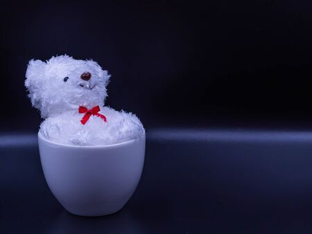 Closeup, selective focus at black eye. White doll dog, smiley face, lying on back in white coffee cup on black background for relaxation, recreation, happiness, peaceful concept and idea. Imagens