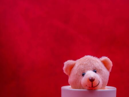 Closeup brown smile teddy bear doll in white coffee cup on vivid, vibrant gradient red copy space background for happiness,  cheerful emotion, kid, encouragement, strong, positive thinking concepts.