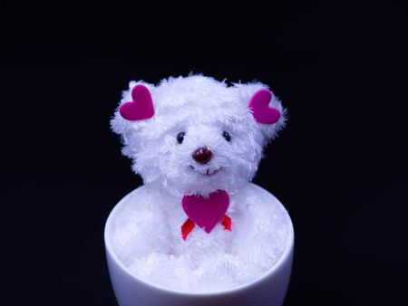 Closeup of white smiling doll dog and pink heart shape sticker, sitting in white coffee cup on black background for relaxation, recreation, happiness, peaceful concept and idea. Imagens