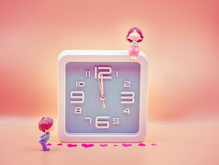 Pastel colored tone of square shape clock with cute girs and boy dolls and pink sticker on sweet red gradient background for waiting time, reconcile, count down, relationship concept and idea. Imagens