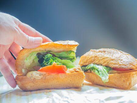 Bad serving food of poor quality tuna sandwich with not fresh vegetable on wooden plate with woman 's hand and gradient gray background. Imagens