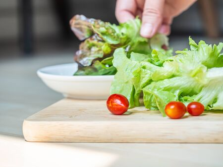 Green salad vegetables and red small tomatoes cooking on wooden plate in the kitchen with blurry woman hand and white dish. Imagens