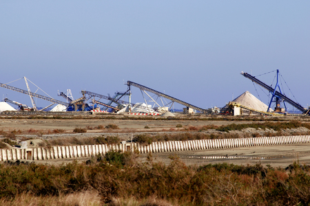 mountain of sea salt in a salt extraction undertaking