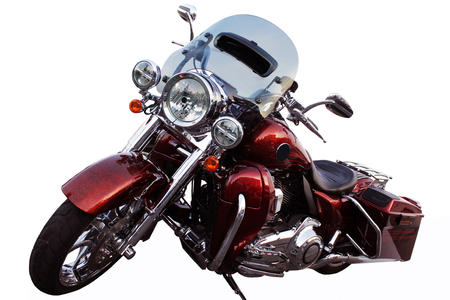 a red motorcycle with a white background Stock Photo