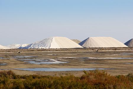 Mountain of sea salt in a salt extraction undertaking Stock Photo