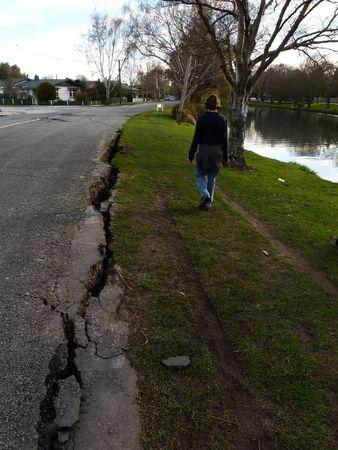 Christchurch, New Zealand, September 4 2010: Crack along Avon River from Earthquake