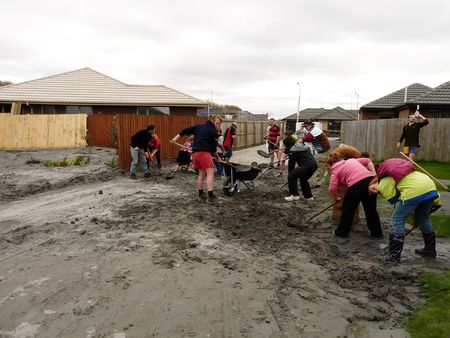 magnitude: Christchurch, New Zealand, September 9 2010: Liquefaction Cleanup from Earthquake in Bexley neighborhood