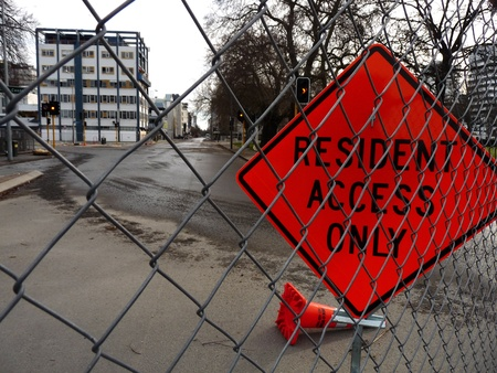 Christchurch Red Zone Fence and Sign