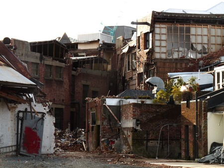 Damaged buildings from Christchurch earthquakes