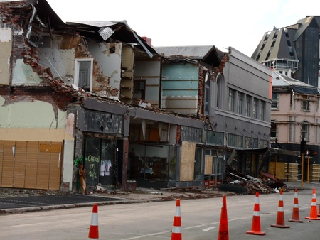 Damaged store fronts from Christchurch earthquakes