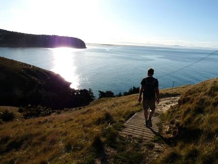 tramping: Caminante en el camino de la cabeza Godley, Nueva Zelanda