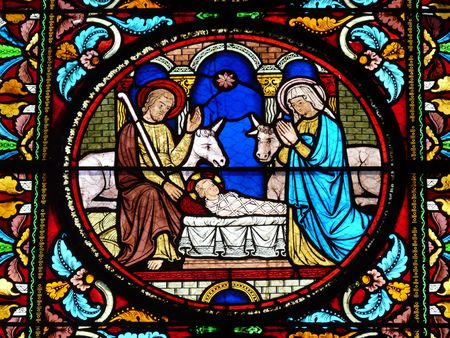 Stained glass window with a Nativity Scene photo