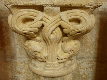 Carved stone lintel in a church in Poitiers in France Stock Photo
